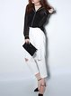 White Casual Cutout Cropped Pant
