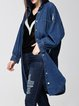Blue Cotton Ripped Long Sleeve Shirt Collar Coat