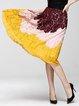 Multicolor Color-block Casual A-line Midi Skirt