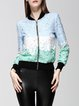 Multicolor Long Sleeve Stand Collar Guipure Bomber Jacket