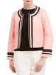 Pink Long Sleeve Jacquard Crew Neck Coat