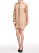 Apricot H-line Floral Buttoned Long Sleeve Crew Neck Coat