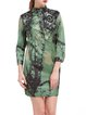 Green Printed Vintage Graphic Stand Collar Mini Dress