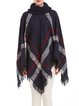 Navy Blue Shift Knitted Fringed Casual  Cape