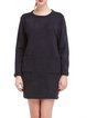 Navy Blue Crew Neck Casual Pockets Sweater Dress