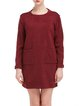 Red Knitted Casual H-line Plain Sweater Dress