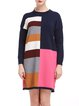 Navy Blue Shift Color-block Long Sleeve Sweater Dress