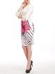 Multicolor Elegant Printed Sheath Floral Midi Skirt