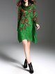 Long Sleeve Cowl Neck Shift Floral-print Midi Dress