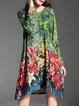 Floral Print Long Sleeve Polyester Vintage Midi Dress