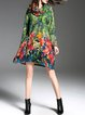 Floral Print Long Sleeve Polyester Vintage Midi Dress