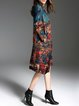 Multicolor Crew Neck Printed Vintage H-line Midi Dress