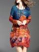 Multicolor Vintage H-line Floral Printed Mini Dress