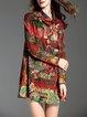 Multicolor H-line Printed Long Sleeve Mini Dress
