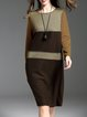 Coffee H-line Casual Color-block Crew Neck Midi Dress