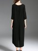 Black A-line Long Sleeve Paneled Midi Dress