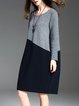 Gray H-line Color-block Long Sleeve Crew Neck Midi Dress