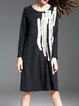 Appliqued Plain Long Sleeve Crew Neck Casual Midi Dress