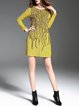 Yellow Casual Abstract Crew Neck Cotton-blend Mini Dress