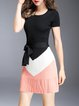 Multicolor Color-block Knitted A-line Short Sleeve Crew Neck Mini Dress