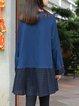 Plus Size Shift Embroidered Long Sleeve Crew Neck Paneled Dress