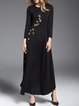 Black Floral Elegant Solid Maxi Dress