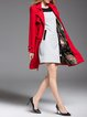 Red Paneled Lapel Plain Long Sleeve Pockets Coat