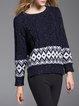 Dark Blue Jacquard H-line Casual Sweater