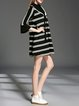 Black Bell Sleeve A-line Crew Neck Stripes Mini Dress