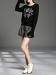 Floral-embroidered Bell Sleeve Knitted Crew Neck Casual H-line Sweater