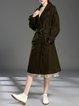 Buttoned Lapel A-line Long Sleeve Coat