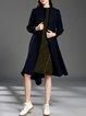 Navy Blue Long Sleeve Wool Solid Asymmetric Coat