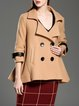 Buttoned 3/4 Sleeve Solid Flounce Coat