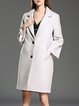 Solid Long Sleeve Wool Blend Elegant Beaded Coat