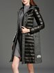 Black H-line Paneled Wool Blend Long Sleeve Down Coat