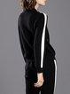 Zipper Pockets Long Sleeve Color-block Simple  Coat