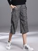 Deep Gray Appliqued Plain Polyester Casual Wide Leg Pants