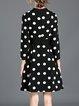 V Neck Simple Long Sleeve Polyester Polka Dots Midi Dress