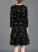 Black 3/4 Sleeve Flounce Crew Neck Midi Dress