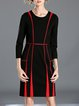 Elegant 3/4 Sleeve Piping Pockets Midi Dress