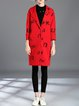 Red Printed Simple Lapel Polyester Letter Coat