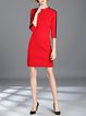Red A-line Simple Stand Collar Ribbed Midi Dress