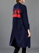 Dark Blue Long Sleeve H-line Printed Slit Open Front Coat