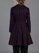 Burgundy Simple Printed Stripes A-line Coat