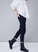 Navy Blue Plain Zipper Street Straight Leg Pants