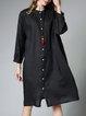 Black Long Sleeve Stand Collar Shift Casual Shirt Dress