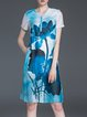 Blue Vintage Shift Floral Midi Dress