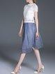 Multicolor A-line Pierced Short Sleeve Lady Three Pieces Midi Dress