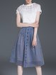Multicolor A-line Pierced Short Sleeve Lady Three Pieces Midi Dress