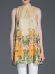 Yellow Floral Stand Collar A-line Vintage Sleeveless Tunic